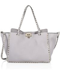 4ac832f37e99d Lyst - Valentino Rockstud Small Leather Satchel in Blue