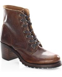 Frye - Sabrina Leather Booties - Lyst