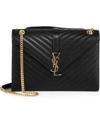 a917ee3cb0 Saint Laurent - Women s Large Monogram Matelasse Leather Chain Shoulder Bag  - Black - Lyst