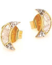 Shana Gulati - Women's Banjara Champagne Diamond Noorpur Crescent Studs - Gold - Lyst