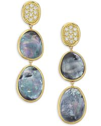 Marco Bicego - Diamond Lunaria Triple Drop Earrings With Black Mother-of-pearl - Lyst