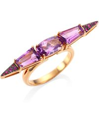 Etho Maria - Sharp Pink Sapphire & Amethyst 18k Rose Gold Ring - Lyst