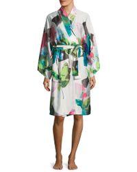 Natori - Printed Satin Robe - Lyst