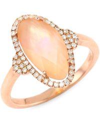 Meira T - Diamond, Rose Quartz & 14k Rose Gold Ring - Lyst