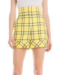 Sara Battaglia - High-waist Check Shorts - Lyst