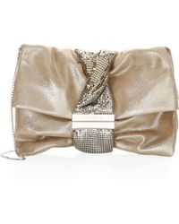 f3995fc5a27 Jimmy Choo Chandra Nude Foil Metallic Suede Clutch Bag With Jewelled Chain  Bracelet in Natural - Lyst
