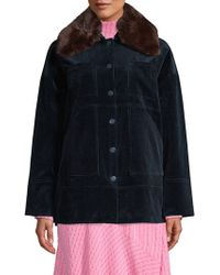 Ganni - Ridgewood Faux Fur Collared Corduroy Jacket - Lyst