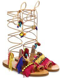 Elina Linardaki | Tahiti Fringed Leather Lace-up Sandals | Lyst