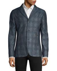 John Varvatos - Plaid Linen-blend Tailored Jacket - Lyst