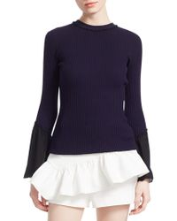 3.1 Phillip Lim - Ribbed Chiffon Ruffle-sleeve Sweater - Lyst