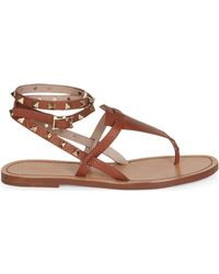 Valentino - Rockstud Double Pebbled Leather Wrap Thong Sandals - Lyst