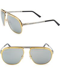 Cartier - Women's Santos Pionnier Aviator Sunglasses - Ruthenium - Lyst