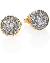 Plevé - Ice Diamond & 18k Yellow Gold Button Earrings - Lyst
