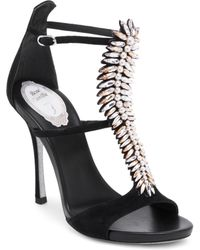 Rene Caovilla - Crystal Leather T-strap Pumps - Lyst