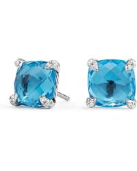 David Yurman - Chatelaine? Stud Earrings With Gemstone And Diamonds - Lyst