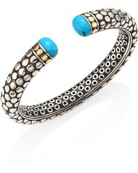 John Hardy - Dot Small Turquoise, Sterling Silver & 18k Yellow Gold Kick Cuff - Lyst
