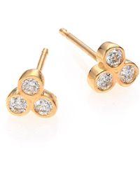 Zoe Chicco - 14k Yellow Gold Diamond Trio Stud Earrings - Lyst