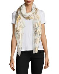 Bajra - Metallic-trim Wool & Silk Scarf - Lyst