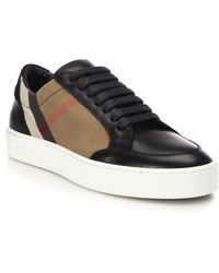 Burberry - Salmond House Check & Leather Sneakers - Lyst