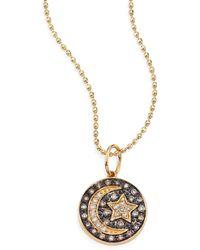 Sydney Evan - Small Moon And Star Diamond & 14k Yellow Gold Medallion Necklace - Lyst