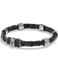 David Yurman - Cable Collection Sterling Silver & Leather Bracelet - Lyst
