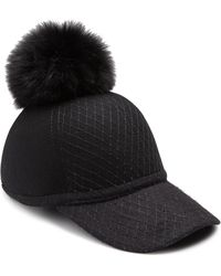 House of Lafayette - Fox Fur Pom-pom & Wool Baseball Cap - Lyst