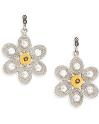 Coomi - Opera Diamond, Crystal, 20k Yellow Gold & Sterling Silver Flower Drop Earrings - Lyst