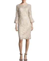 Teri Jon - Bell Sleeve Lace Sheath Dress - Lyst