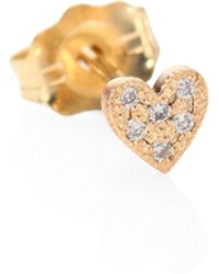 Zoe Chicco - Itty Bitty Heart Diamond & 14k Yellow Gold Single Stud Earrings - Lyst
