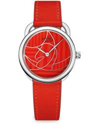 Hermès - Arceau Stainless Steel & Leather Watch - Lyst