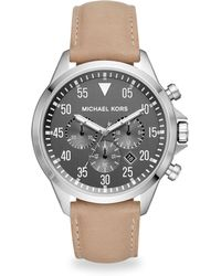 Michael Kors - Gage Stainless Steel Taupe Leather Chronograph Watch - Lyst