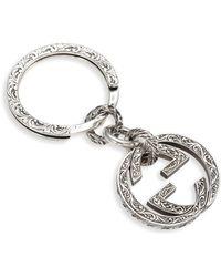 Gucci - Sterling Silver Interlocking Key Ring - Lyst