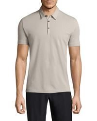 Theory - Bound Placket Cotton Polo - Lyst