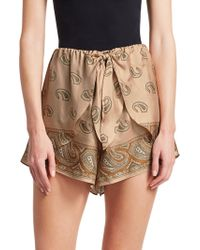 Nanushka - Naila Silk Paisley Print Mini Shorts - Lyst