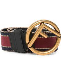 Fendi - Vitello Century Nastro Righe Leather Belt - Lyst