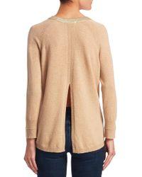 Halston - Merino Wool & Cashmere Metallic Trim Sweater - Lyst
