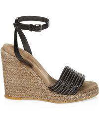 Brunello Cucinelli - Women's Leather Ankle-strap Wedge Espadrilles - Black - Size 41 (11) - Lyst