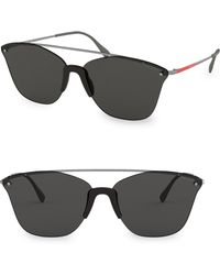 Prada - Linea Rossa 64mm Square Metal Sunglasses - Lyst