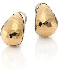 John Hardy - Classic Chain Hammered 18k Yellow Gold & Sterling Silver Stud Earrings - Lyst