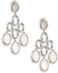 John Hardy - Bamboo White Moonstone & Sterling Silver Chandelier Earrings - Lyst