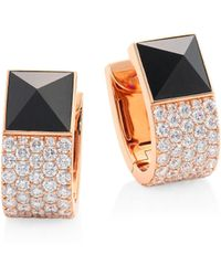 Roberto Coin - Prive Pyramid Pave Diamond & Black Jade Earrings - Lyst