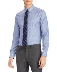 c2052503 Polo Ralph Lauren - Men's Check Cotton Twill Long Sleeve Shirt - Periwinkle  Blue - Size