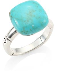 John Hardy - Batu Bamboo Turquoise & Sterling Silver Ring - Lyst