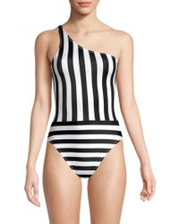 Norma Kamali - One Shoulder Striped One-piece Swimsuit - Lyst