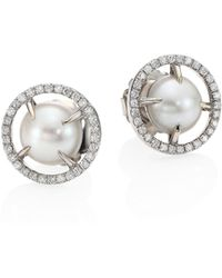 Jordan Alexander - 10mm Sliced Round Freshwater Pearl, Diamond & 18k White Gold Stud Earrings - Lyst