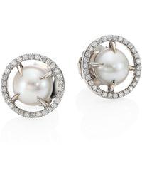 Jordan Alexander | 10mm Sliced Round Freshwater Pearl, Diamond & 18k White Gold Stud Earrings | Lyst