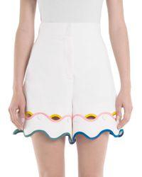 Sara Battaglia - Scalloped Cotton Shorts - Lyst