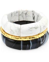 Nest - Black And White Agate & 24k Goldplatedstretch Bracelet - Lyst