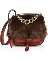 Miu Miu - Dahlia Shearling & Leather Saddle Bag - Lyst