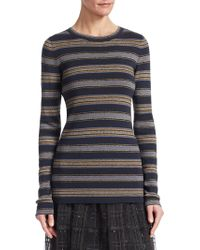 Brunello Cucinelli - Wool And Cashmere Striped Top - Lyst